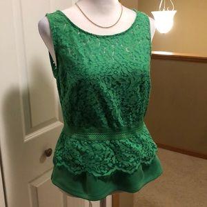 NWOT Kelly green, lace peplum top